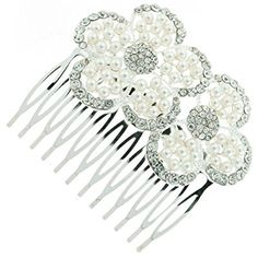 Vintage Pearl and Crystal Double Blossom Bridal Hair Comb Clip