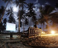 """Que tal curtir uma """"sessão de cinema"""" com este cenário?  Pé na areia e sob a luz da lua... Lembrança da pousada @viladopatacho (Praia do Patacho em Alagoas) Inesquecível!!!!  #blogmochilando  Foto: @flavioantunes  #viladopatacho #portodepedras #alagoas"""