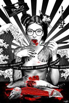 SushiGirl by Tsuchinoko /   Mike CHENUT, via Behance