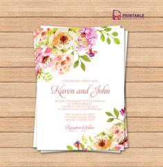 FREE PDF wedding invitation template with editable texts. Vintage Floral Borders