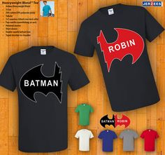 Couples Tshirts  Batman & Robin by 77Teez on Etsy, $24.99  We will always have matching outfits at our parties.