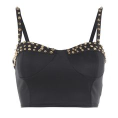 AX Paris Gold Stud Bralet ($4.96) ❤ liked on Polyvore featuring tops, shirts, crop top, bralet, blusas, black, ax paris, bralet tops, cut-out crop tops and ax paris top
