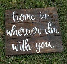 Home Is Wherever I'm With You Slatted Wood Sign by PeachWoodCrafts