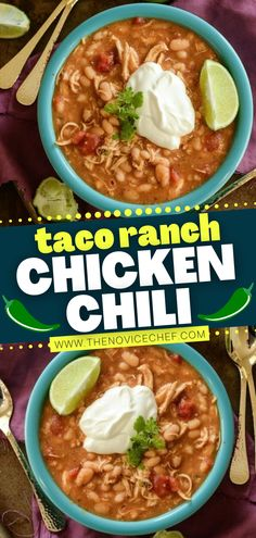 The perfect winter dinner is easy to whip up! Whether using a crock pot or Instant Pot, 5 ingredients are all you need to make this Taco Ranch Chicken Chili. Plus, this big bowl of delicious comfort food also happens to be gluten-free! Save this healthy recipe! Gluten Free Recipes For Lunch, Lunch Recipes, Easy Recipes, Best Chili Recipe, Chili Recipes, Ranch Chicken, Chicken Chili, Easy Family Meals, Easy Meals