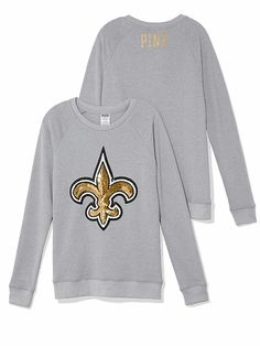 NEW ORLEANS SAINTS BLING CREW This cute crew reps your team with a sequin logo in signature PINK style. Must-have sweats, exclusively from the Victoria's Secret PINK NFL Collection.