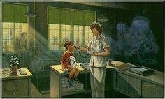 """""""Nursing"""" by James Lumbers.  I have a paper print copy of this painting in my nursing collection."""