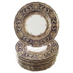 An Opulent Set of 12 Dinner Service Hand-Gilded Plates | From a unique collection of antique and modern dinner plates at https://www.1stdibs.com/furniture/dining-entertaining/dinner-plates/