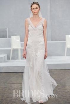 """Brides: Monique Lhuillier - Spring 2015. """"Sylvie"""" blush tulle cowl neck slip gown with lace appliqués, Monique Lhuillier"""