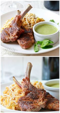 Moroccan Grilled Lamb Chops with Tahini Mint Pesto