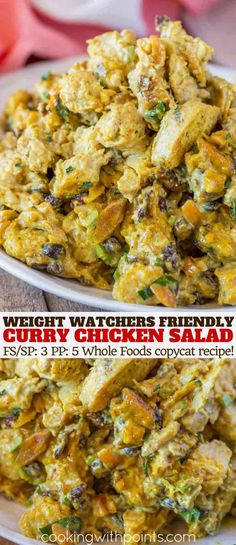 Curry Chicken Salad made with mango chutney, almonds and currants is a delicious. - Curry Chicken Salad made with mango chutney, almonds and currants is a delicious lightened up recip - Weight Watchers Pasta, Chicken Diet Recipe, Chicken Salad Recipes, Burritos, Whole Food Recipes, Diet Recipes, Diet Tips, Crockpot Recipes, Weigt Watchers
