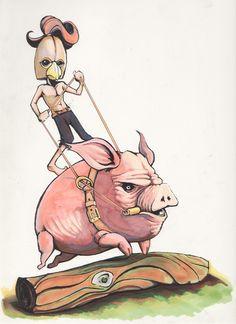 Pig Rider by Gasworks.deviantart.com on @DeviantArt