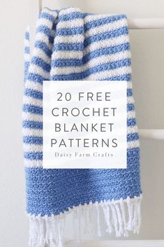 20 Free Crochet Blanket Patterns made with Caron Simply Soft - women Life ideas Crochet Afghans, Tunisian Crochet, Afghan Crochet Patterns, Baby Blanket Crochet, Crochet Stitches, Crochet Baby, Free Crochet, Knit Crochet, Knitting Patterns