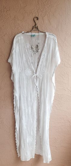 White sheer cape sleeves embroidered maxi kaftan with tassles ties beach walk beauty on Etsy, $175.00