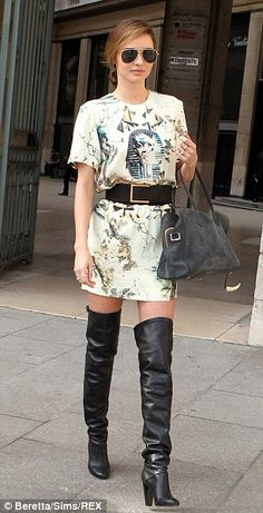 Miranda Kerr.. boots by HERMES