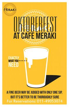 Enjoy your weekend with are #OKTOBERFEST deals that will blow out of your mind!! Perfect combination of food and drinks only at Cafe Meraki #Saturday #weekend #party #boozedown #beer #cheers