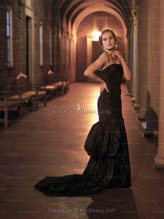 Trumpet/Mermaid Strapless Taffeta Sweep Train Black Flowers Evening Dress at Msdressy  $153.39