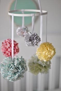 DIY fabric pouf mobile - #DIY #nursery #mobile