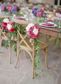 Pretty pink floral covered sweetheart chairs: http://www.stylemepretty.com/2016/03/23/a-pink-purple-wedding-set-in-napa-valley/ | Photography: KT Merry - http://www.ktmerry.com/