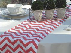 Coral Chevron Table Runners for Wedding Decor, Birthday Parties, Party Decor, Holidays