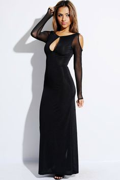 #1015store.com #fashion #style Black mesh cold shoulder sleeve keyhole high slit evening club maxi dress-$20.00