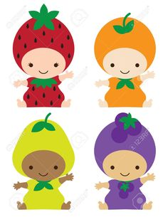 Vector illustration of smiling babies in strawberry, orange, pear, and grape costumes. Toy Art, Infant Bulletin Board, 3d Character, Character Design, Strawberry Clipart, Grapes Costume, Cartoon Cupcakes, Felt Crafts, Diy And Crafts