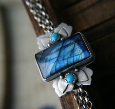 The Flowering Gateway - Labradorite Sterling Silver Bracelet by MercuryOrchid
