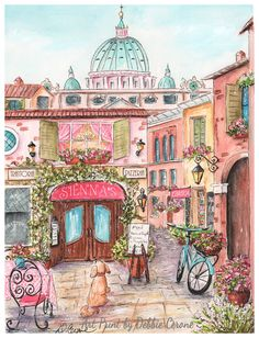 Rome Italy - my newest travel themed print! This adorable print is a fine art reproduction of an original watercolor that I painted. I tried to capture the essence of Rome - with its iconic St. Peters Basilica in the background and a trattoria and quaint street scene (including a book store) in the forefront. The trattoria can be personalized with a girls name of your choice.  *When placing order, please let me know (in the order notes section) what name you would like on sign.  This prints…