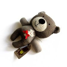 Teddy bear rag doll toy handmade cute plushie by meilingerzita, $35.00