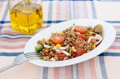 Salata me fakes Probiotic Foods, Best Salad Recipes, Lentil Salad, Salad Dressing, Cider Vinegar, Lentils, Fried Rice, Cobb Salad, Food To Make