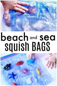 Beach and Ocean Sensory Squish Bags Explore the beach and the ocean with these sensory squish bags for toddlers and preschoolers. Summer fun at home or the perfect addition to your preschool ocean theme Beach Theme Preschool, Beach Activities, Infant Activities, Preschool Crafts, Preschool Curriculum, Preschool Ideas, Vocabulary Activities, Preschool Printables, Summer Themes For Preschool
