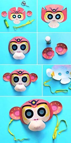 Instructions to make a Chinese New Year monkey mask!