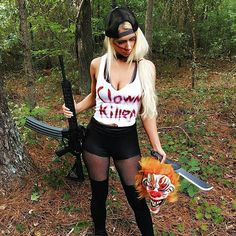 EPIC #StrappedUpBabes from @stephanieannlouise - Anyone know if there's a bag limit? Just a few days until Halloween. What's everyone dressing up as? # #GunbunnyAF #Clownsightings #SaltanaLouise #Halloween #Ar15 #Ootd #ThirstyThursday #Rifle #Gunchannels #Machete #Clown #Bye #Extendedmag #Clownkiller#StappedUpBabes - #regrann