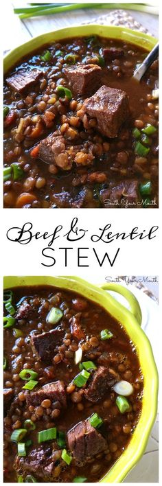 Beef & Lentil Stew | A hearty beef stew made with london broil, sirloin or chuck, a rich beef stock and tender lentils.