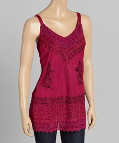 Look at this Pink Embroidered Tank on #zulily today!