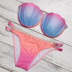 063ead24dba Cup Up Brazilian Sexy Shell Bikini Set Swimwear. Suits WomenBikini ...