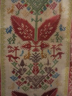 panel from an embroidered bed, Patmos circa Benaki Museum Folk Embroidery, Ribbon Embroidery, Benaki Museum, Embroidered Bedding, Islamic Art, Home Textile, Blackwork, Fabric Crafts, Needlepoint