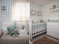 quartos de bebê decorado em bege e azul