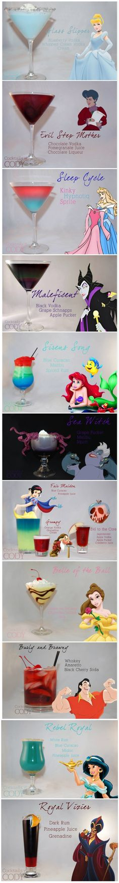 Disney themed cocktauls. These are so pretty and I would definitely try some of them.