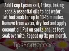 Fix your dry, cracked feet with this at-home foot soak remedy. Add 1 cup Epsom salt, 1 tablespoon baking soda, & essential oils to a basin of hot water. Let your feet soak for 10-15 minutes. Re…