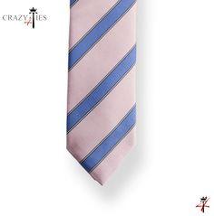 Particolare Punta Cravatta in Seta Regimental Rosa e Blu