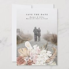 Shop Pampas Grass Floral Tropical Jungle Save The Date created by PhrosneRasDesign. Save The Date Photos, Save The Date Cards, Wedding Stationery Inspiration, Wedding Inspiration, Pampas Grass, Save The Date Invitations, Burgundy Wedding Invitations, White Orchids, Blush Roses