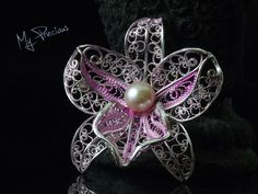 My Precious - Fine silver filigree Dendrobium Orchid with fresh water pearl