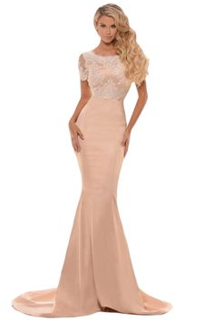 41e1758157cf Women Lace Satin Formal Gown 2016 Hot Lady Female Short Sleeve Cutout  Evening Party Champagne Violet Floor Long Dress vestidos-in Dresses from  Women's ...