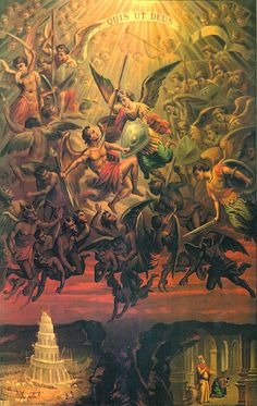 St Michael The Archangel Quis ut Deus Who is like unto God Religious Images, Religious Art, Rennaissance Art, Kunst Online, Ange Demon, Biblical Art, Heaven And Hell, Archangel Michael, Catholic Art