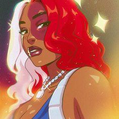 Todoroki Thee Stallion. Black Girl Cartoon, Dope Cartoon Art, Cartoon Kunst, Black Love Art, Black Girl Art, Aesthetic Art, Aesthetic Anime, Purple Aesthetic, Arte Black