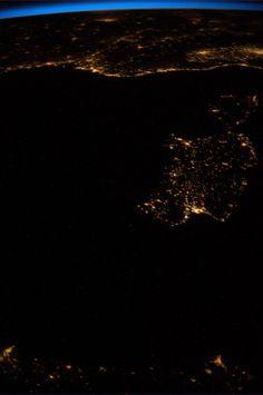 Liguria, Corsica, Sardegna di notte riprese dalla stazione spaziale ISS