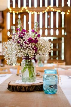 Rustic centerpieces in the barn