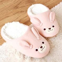 Adorable Bunny Rabbit Animal Shaped Slippers for Women in Pink