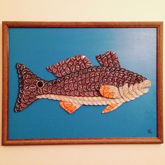 """Redfish bottle cap artwork using all recycled Abita beer bottle caps. This one measures 18""""x24"""" and contains just over 200 caps. #redfish #fish #fishing #saltlife #louisiana #abita #abitabeer #beer #craftbeer"""