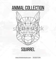 Squirrel head geometric lines silhouette isolated on white background vintage vector design element image